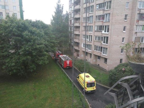 Пожар в доме 29к3 по Замшиной улице , 2 пожарных машины, 2 реанимации , выломали входную дверь, дыма...